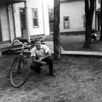 Lionel in front of his family home in Sturgeon Falls in 1944.